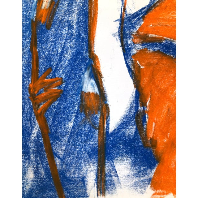 """Contemporary Figure Drawing in Blue and Orange Pastel, """"Seated Figure in Blue and Orange"""" by Artist David O. Smith For Sale - Image 9 of 11"""
