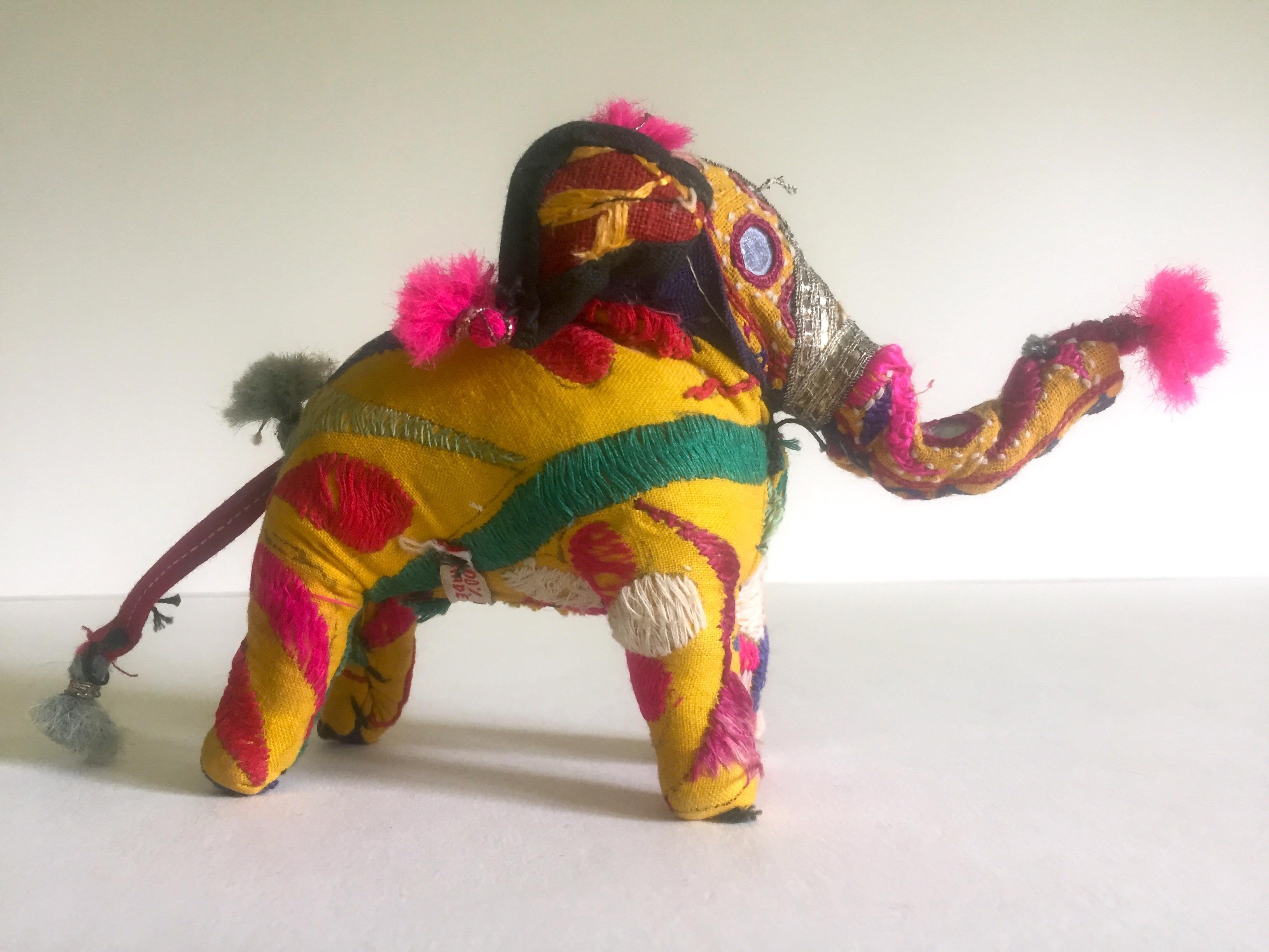 Vintage Indian Patchwork Elephant Figurine   Image 11 Of 11