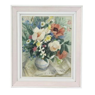 1950s Vintage Peggy Wickham Vase of Flowers Atop Manchester Guardian Watercolor Painting For Sale