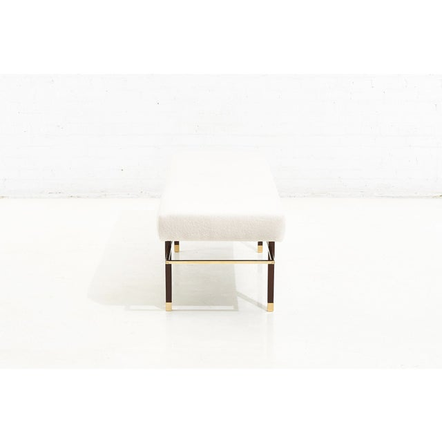 Harvey Probber Brass Frame Bench in White Boucle, 1950 For Sale - Image 4 of 7