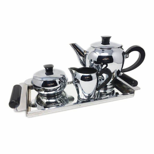 1930s Antique 1930s Art Deco French Chrome Tea Set - Set of 4 For Sale - Image 5 of 5