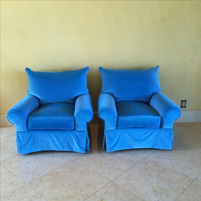 Venetian Blue Club Chairs - A Pair - Image 2 of 8