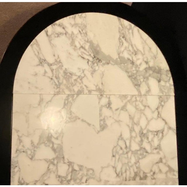 Metal Hollywood Regency Jansen Style Ebony Center Dining Table Marble Top French For Sale - Image 7 of 12