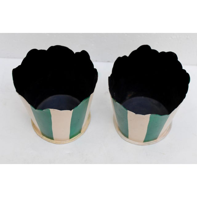 Green Striped Tole Planters - A Pair - Image 3 of 6