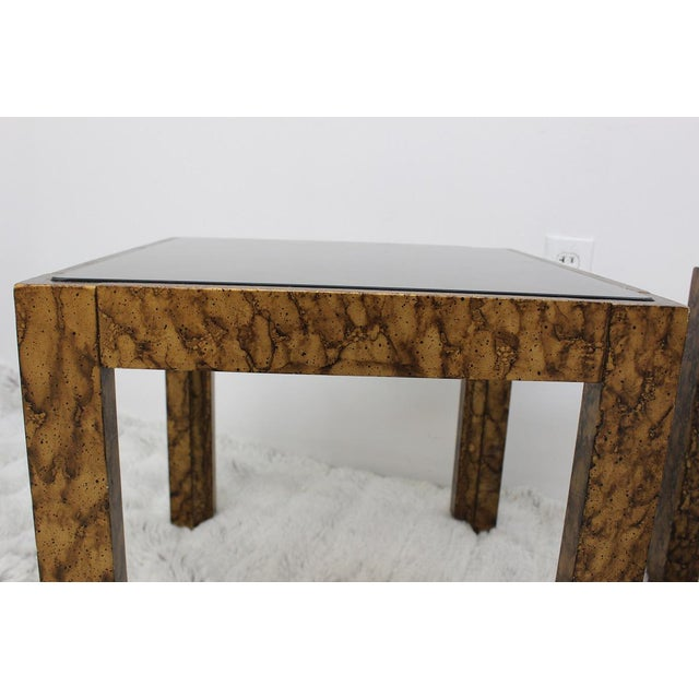 Mid Century Modern pair of end tables with glass tops For Sale - Image 9 of 10