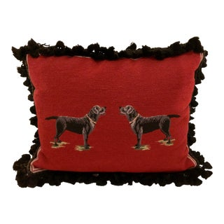 Needlepoint Dog Motif Pillow For Sale