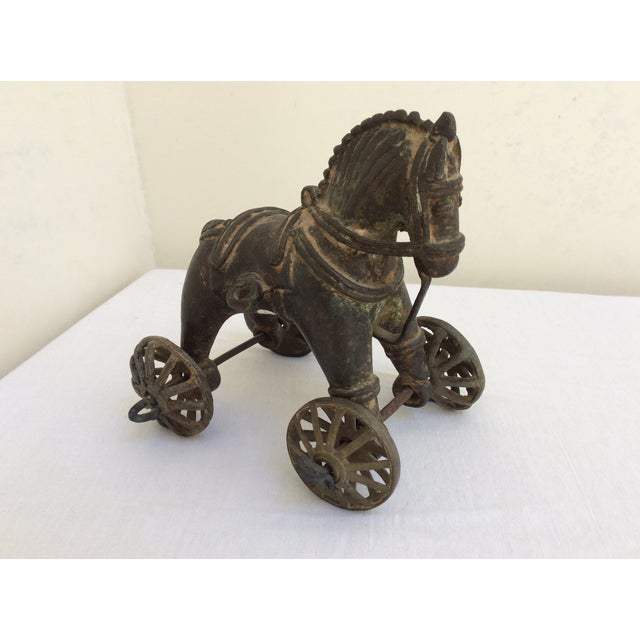 Antique Bronze Toy Horse From India For Sale - Image 4 of 8