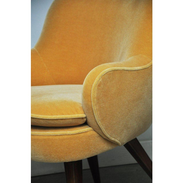 Textile Vladimir Kagan Walnut Frame Lounge Armchair For Sale - Image 7 of 11