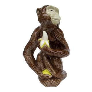 Vintage C.1960s Mid-Century Italian Porcelain, Hand-Painted Monkey With Banana For Sale