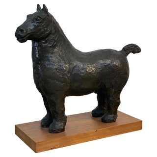Vintage Bronze Horse on Wood Base For Sale