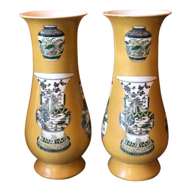 Pair Of Art Deco Chinese Pottery Vases W Shun Chih Mark Chairish