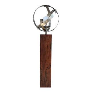 Mid-Century Wood & Chrome Orb Floor Lamp
