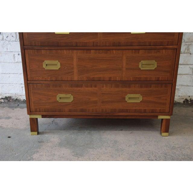 Baker Furniture Milling Road Campaign Style Highboy Dresser For Sale - Image 9 of 10