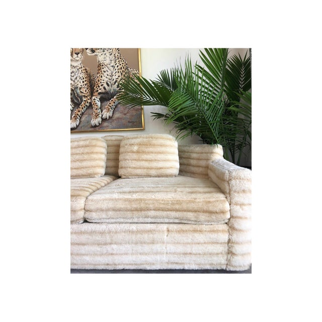 Unique Vintage Faux Fur Sofa. Made by Howard Parlor. This Sofa was owned for decades by a Military Veteran who traveled...