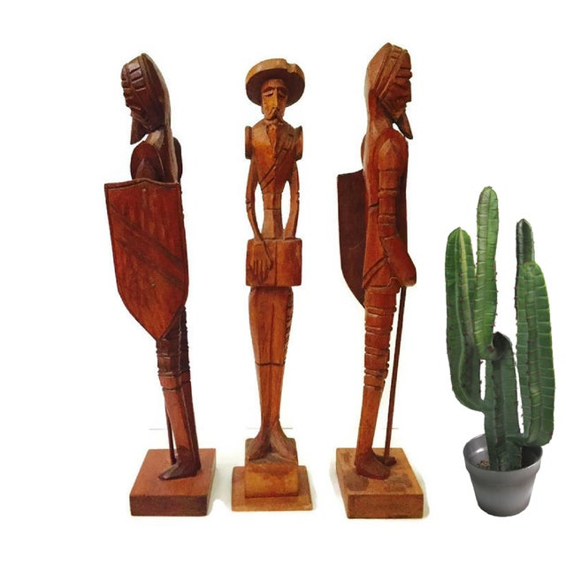 Boho Chic Mid Century Wood Carved Don Quixote Statues - Set of 3 For Sale - Image 3 of 6