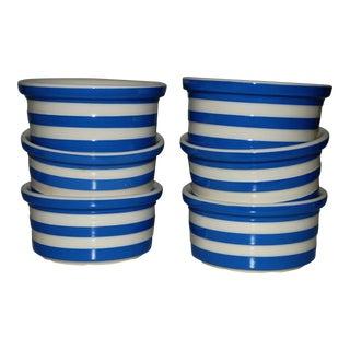 Set of Six Dip Bowls Cornishware Blue White Ceramic Stripe Ramekin Bake Freexe Serve Dessert Stoneware For Sale