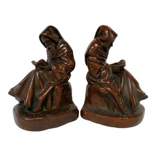 Wall Street Monk Bronze Bookends - a Pair For Sale