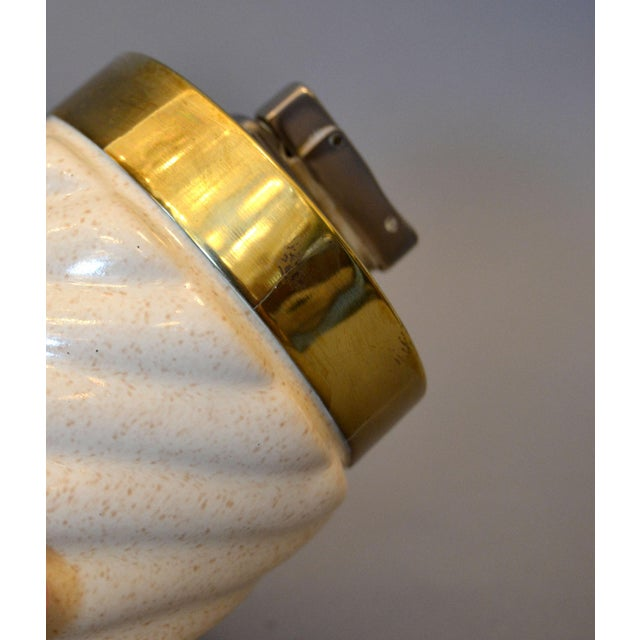 Brass Mid-Century Modern Tommaso Barbi Beige Ceramic & Brass Lighter Italy, Signed For Sale - Image 7 of 11