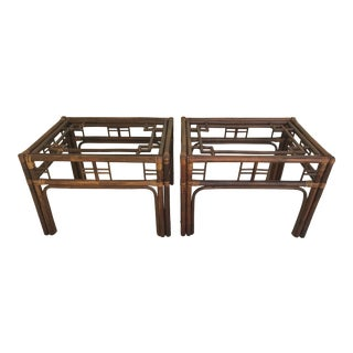 Vintage Bamboo Wicker and Pencil Reed Chinoiserie Side Tables For Sale