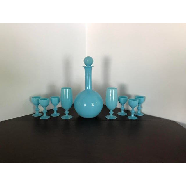 Early 20th Century French Blue Opaline Decanter & Cordial Goblets Glassware by Portieux Vallerysthal - Set of 9 For Sale - Image 9 of 10