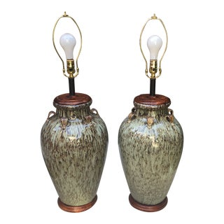 Hand Painted Ceramic Table Lamps With Linen Shades - a Pair For Sale
