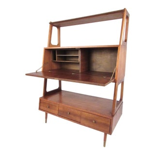Freestanding Vintage Walnut Bookshelf For Sale