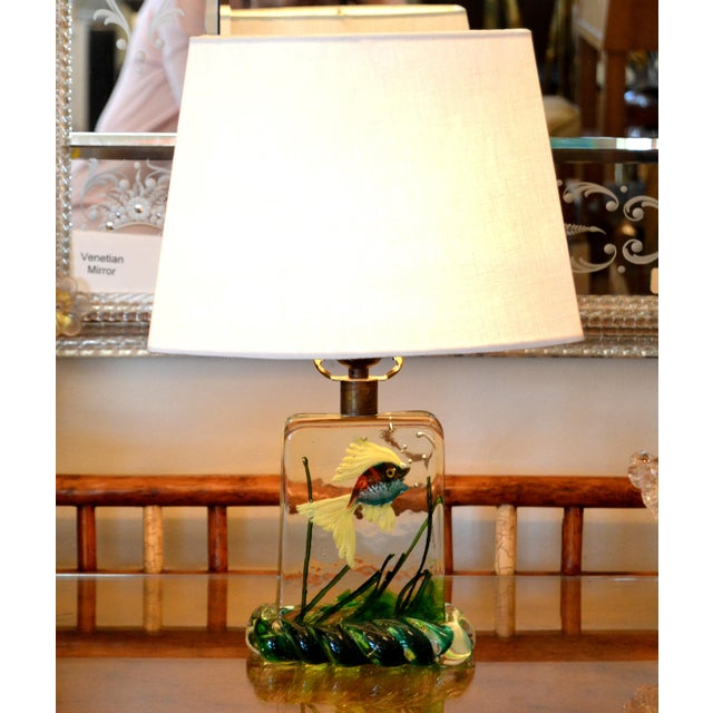 Gino Cenedese Murano Glass Table Lamp with red & blue Fish and green Seaweed. It has Brass Fittings and comes with a new...