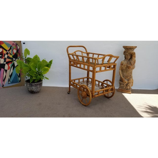 Boho Chic Vintage Boho Chic Rattan & Bamboo Rolling Bar Cart For Sale - Image 3 of 13