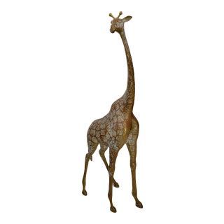 Monumental Mid-Century Modern Hammered Brass & Bronze Giraffe, Animal Sculpture For Sale