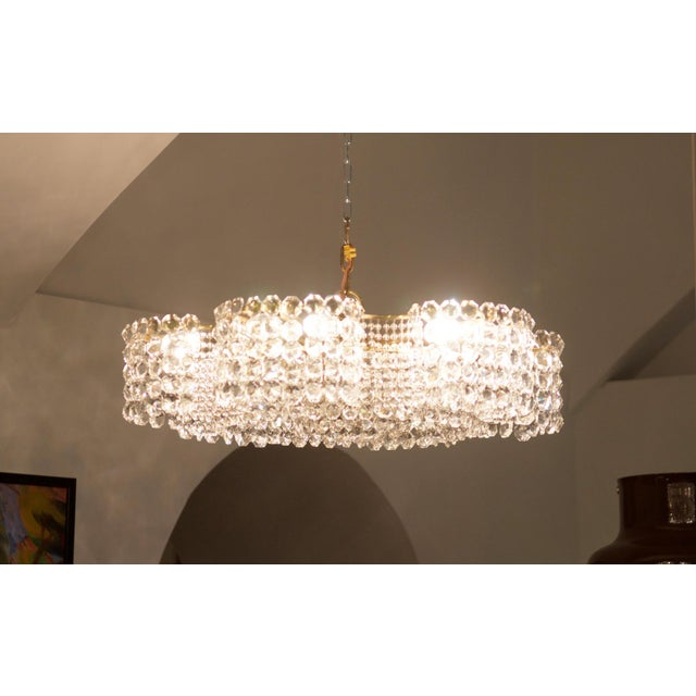 Mid-Century Modern Large Chandelier of Cut Crystal by JL Lobmeyr for Lobmeyr, 1950 For Sale - Image 3 of 11