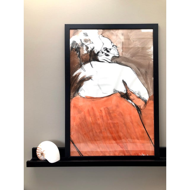 This is an original large-scale figure drawing, drawn from a live model in ink and charcoal by Artist David O. Smith,...