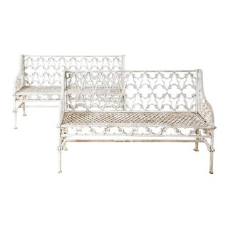 English Coalbrookdale Attributed Iron Gothic Revival Garden Benches For Sale