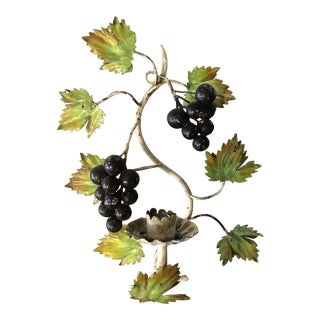 1950s Vintage Italian Tole Grape Candle Sconce