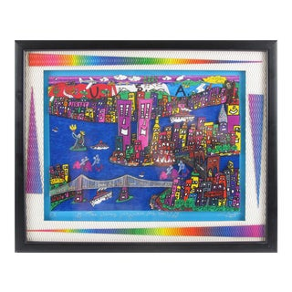 The Way We Were, 1973-2001 New York Cityscape Colorful 3d Art Collage Painting For Sale
