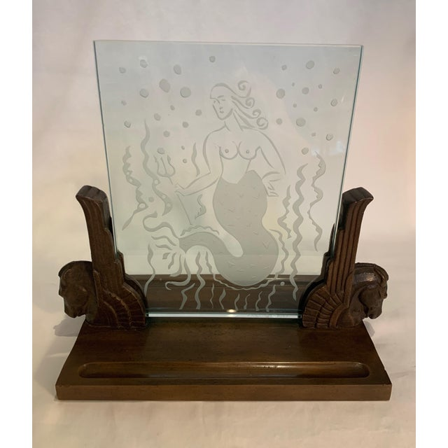 1920s Art Deco Glass Panel on Bronze Base For Sale - Image 13 of 13