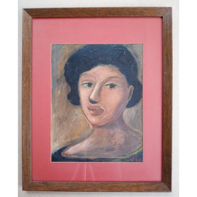 Paint Mid 20th Century Portrait of a Woman Oil Painting, Framed For Sale - Image 7 of 7