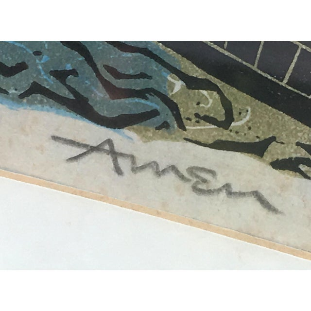 Etching Mid Century Modern Irving Amen Woodblock Print of Venice For Sale - Image 7 of 10
