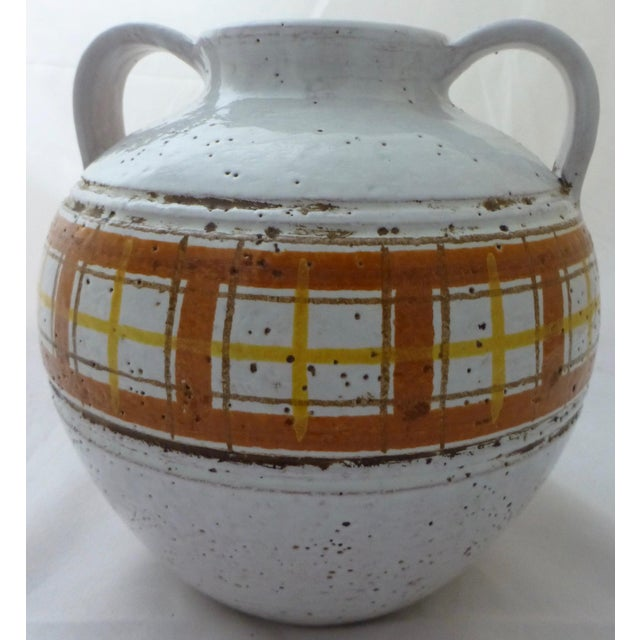 Yellow Mid-Century Modern Italian Art Pottery Vase For Sale - Image 8 of 11
