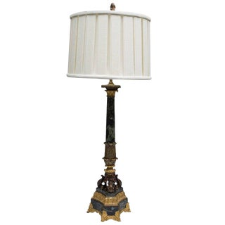 19th Century French Marble and Ormolu Columnar Lamp For Sale