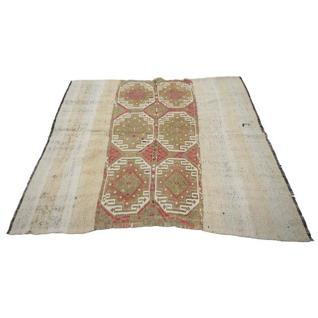Vintage Turkish Decorative Kilim Rug- 5′2″ × 5′5″ For Sale - Image 4 of 7
