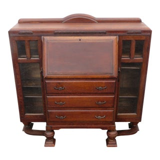 English Deco Solid Oak Leather Top Secretary Desk With Bookcase 2185 For Sale