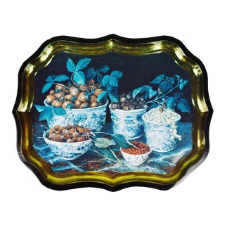 Vintage Toleware Style Tray Made in England - Painting by Galley - Stephanie Hoppen Picture Archive For Sale