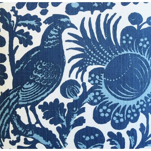"""Asian Scalamandré Blue & White Spoleto Bird & Floral Feather/Down Pillow 22"""" Square For Sale - Image 3 of 6"""