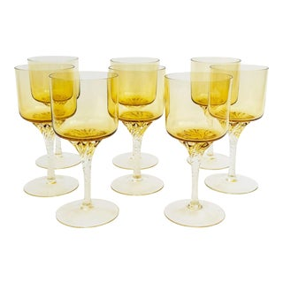 Vintage Yellow Wine Glasses - Set of 8