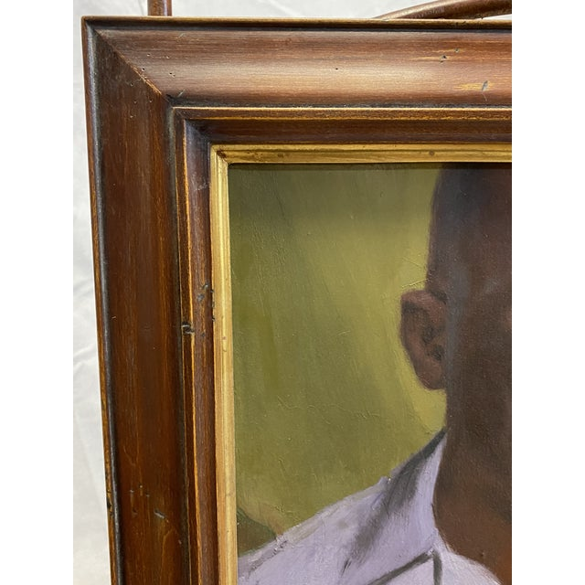 American Vintage Oil on Canvas Portrait of an African American Man Framed Painting For Sale - Image 3 of 8