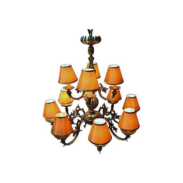 12 Arm Dutch Brass Chandelier - Image 6 of 9