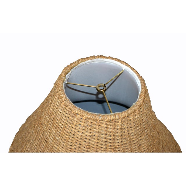 Brown Mid-Century Modern Round Hand-Woven Rattan, Wicker White Lined Fabric Lamp Shade For Sale - Image 8 of 11