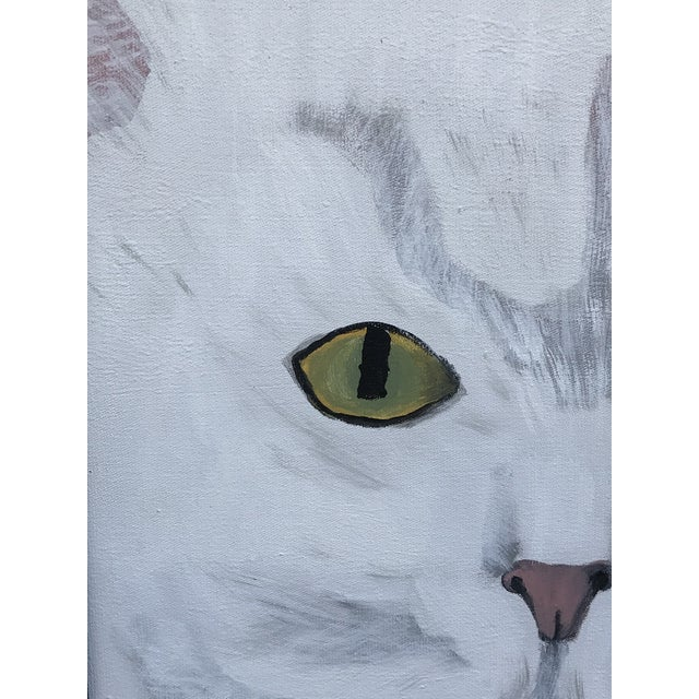 Modern Late 20th Century Modernist Style Cat Painting, Framed For Sale - Image 3 of 8