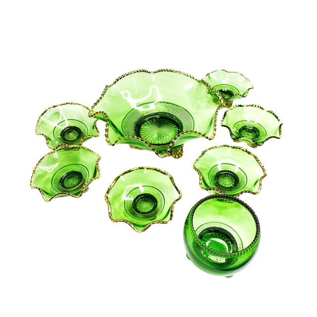 Vintage Mid-Century Russian Green Hand Blown Glass & Gold Detailed Serving Bowl Set of 8 For Sale