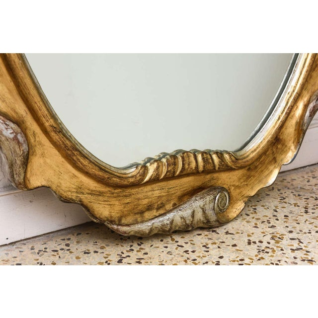 Hollywood Regency Style Gold and Silver Gilt-Wood Mirror For Sale - Image 4 of 10
